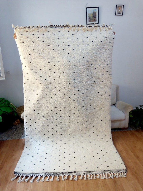 Moroccan hand woven dots - Beni Ourain Style - Dots Rug - Wool