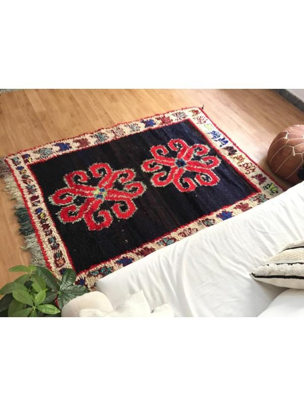 Vintage Moroccan Boucherouite (Boucheroute) Rug - Authentic rugs - Natural Wool - 190x130