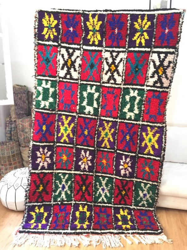 Vintage Moroccan Boucherouite (Boucheroute) Rug - Authentic rugs - Natural Wool - 240x136