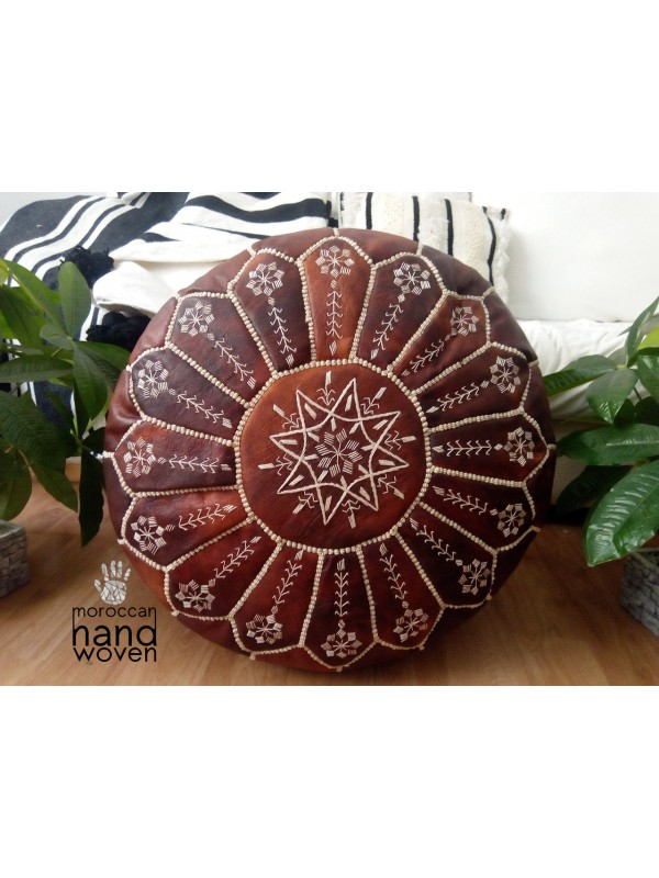Moroccan Tan dark Leather  pouf with embroidered design, Ottoman ,Footstool Leather Round Poufs Pouffe Pouffes puff -  unstuffed Poof