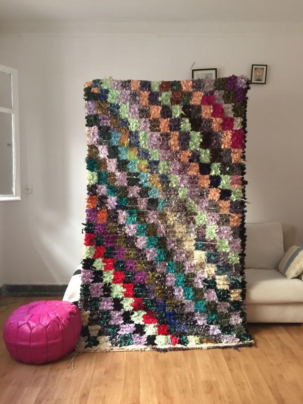 Vintage Moroccan Boucherouite (Boucheroute) Rug - Authentic rugs - Natural Wool -225x130