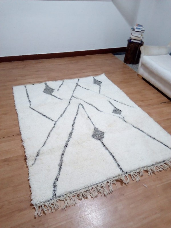 Moroccan Rug - Beni Ourain Style - Tribal Rug - Thick Art Design - Full Wool -