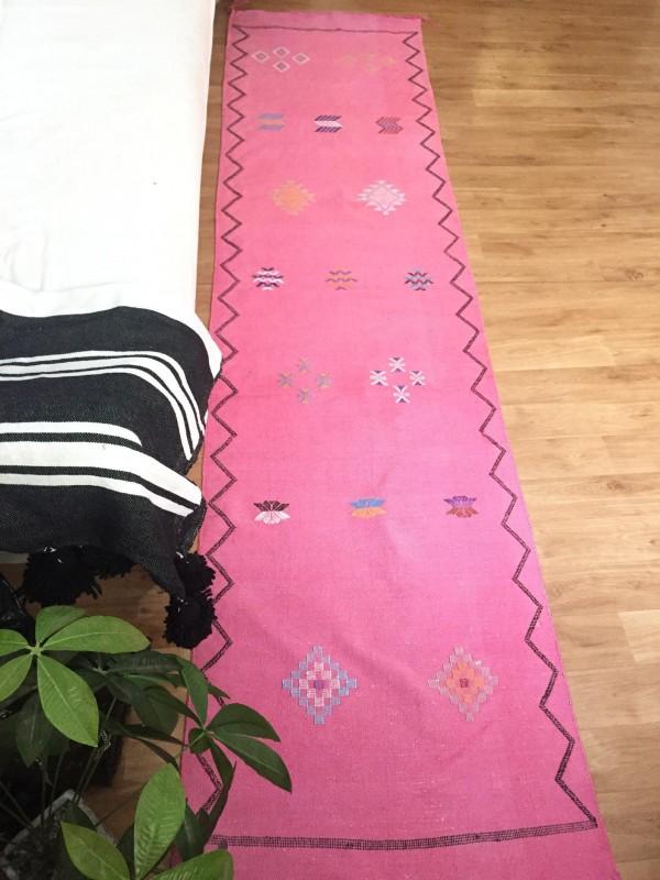 Pink sabra Runner, Moroccan sabra carpet (9.1 x 2 ft) silk Rug Moroccan Boho Moroccan Style Runner blue rug