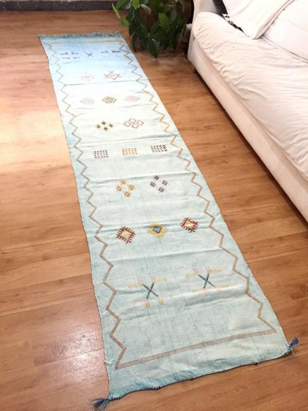 Cactus Silk Runner, Moroccan sabra carpet (8.7 x 2,1 ft) Cactus Rug Moroccan Boho Moroccan Style Runner light blue runner