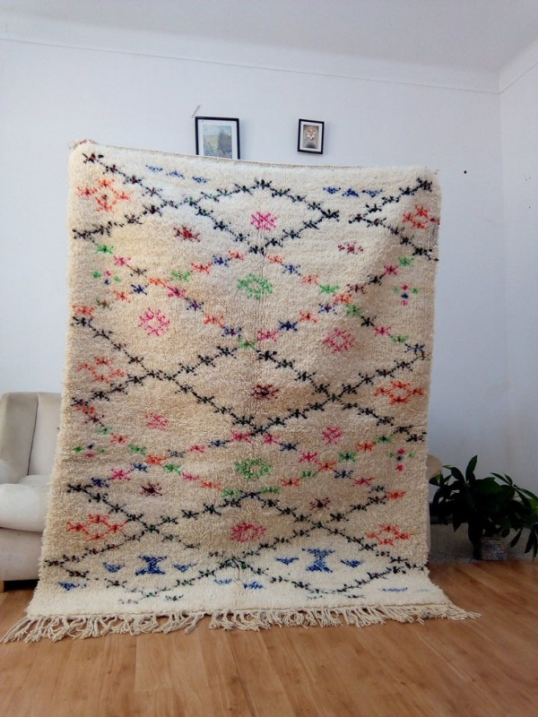Beni Ourain Style - Colored Stripes - Moroccan Carpet - Full Wool