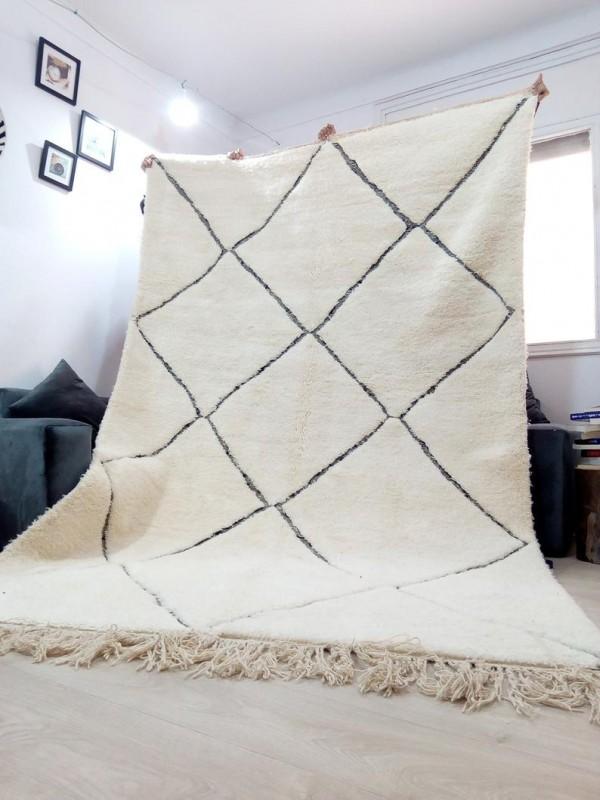 Berber Rug ٍStyle beni ourain - diamond thick lines design - Full Wool