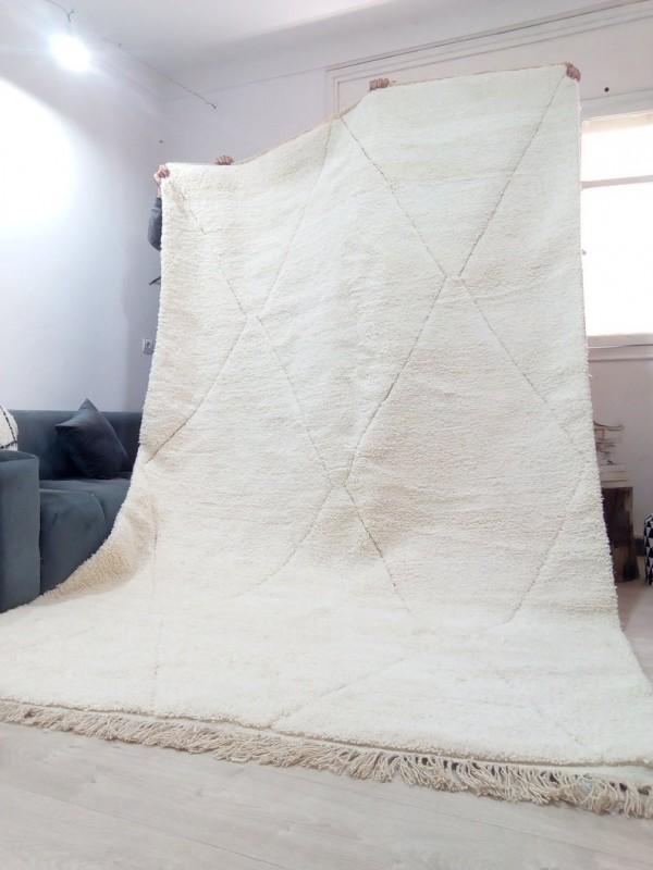 Moroccan beni ourain style - Big Diamonds Uni - Moroccan rug - Full Wool