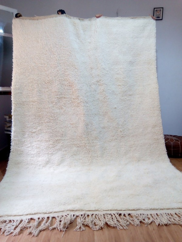 Moroccan Beni Ourain style - Handwoven Rug - Uni ivory carpet - Wool