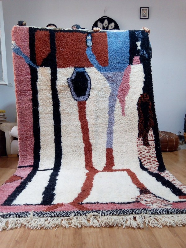 Moroccan Hand Woven Rug - Beni Ourain Style - Colored Pattern Carpet - Wool