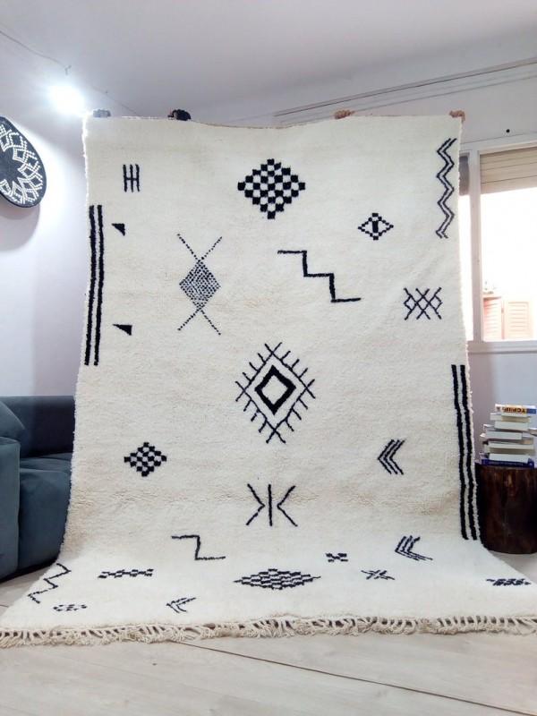 Moroccan Beni Ourain Tribal Rug Style - Berber Design - Full Wool