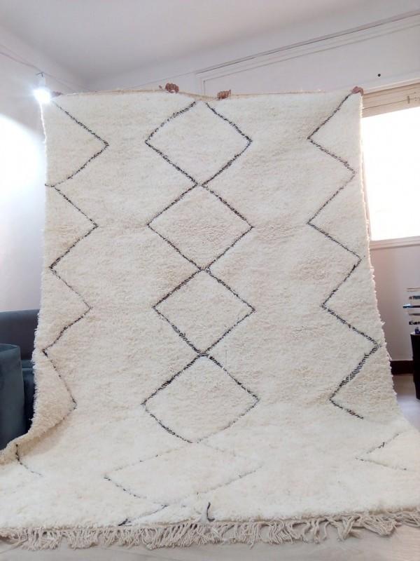 Moroccan Hand woven Beni Ourain Style - Diamonds Design - Wool Rug