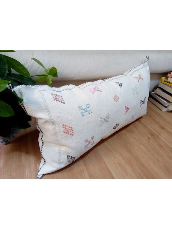 LUMBAR Sabra silk large Moroccan sabra CACTUS cushion - White cactus pillow