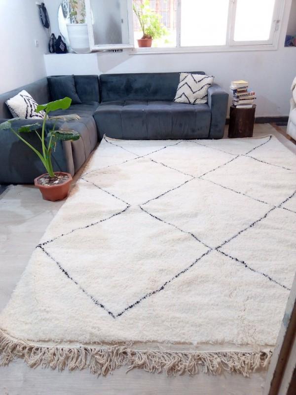 Berber carpet - Beni Ourain Tribal Rug Style- Shag Pile - Wool