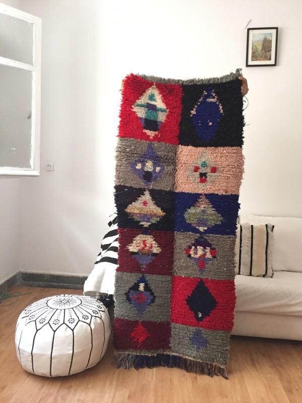 Vintage Moroccan Boucherouite (Boucheroute) Rug - Authentic rugs - Natural Wool - 160x70