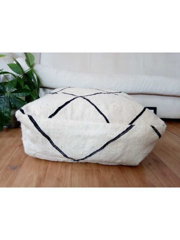 Moroccan poof foor  - beni ourain style - authentic pouf poef poof - 54x53x20 CM