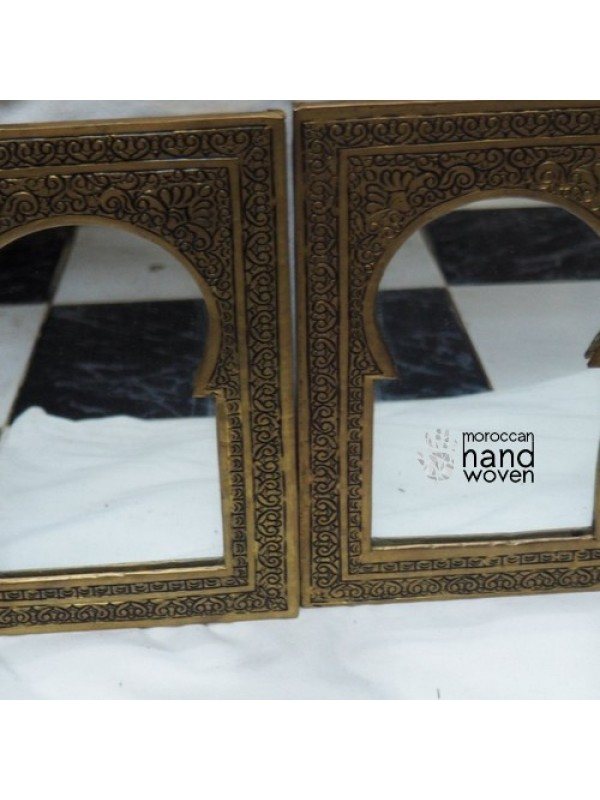 Set 2 brass/copper Golden Frame Brass Moroccan Mirror Hand Carved, Bohemian Mirror Decor  17 X 21cm
