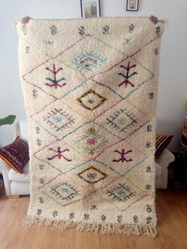 Azilal rug - handmade Moroccan Berber Carpet - Colored Rug- 210x134