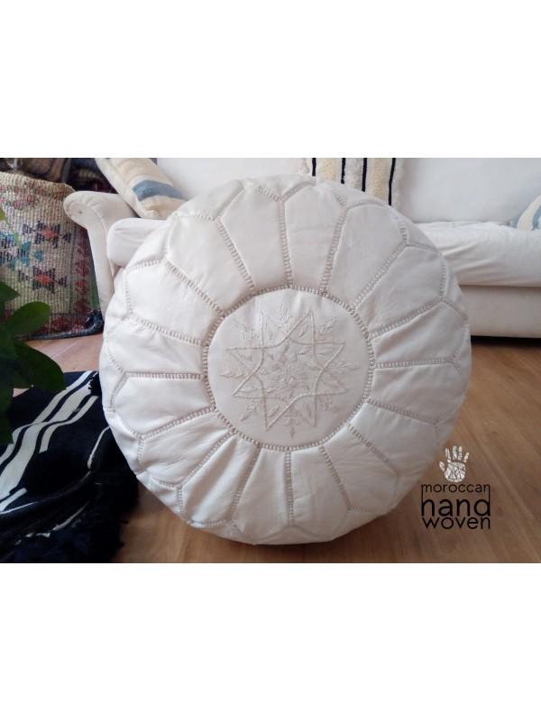 Moroccan White POUF - Ottoman pouf with White Stitching -  Unstuffed pouf