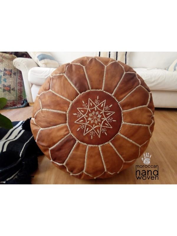 Moroccan oiled tan handmade pouf( (ottoman) unstuffed