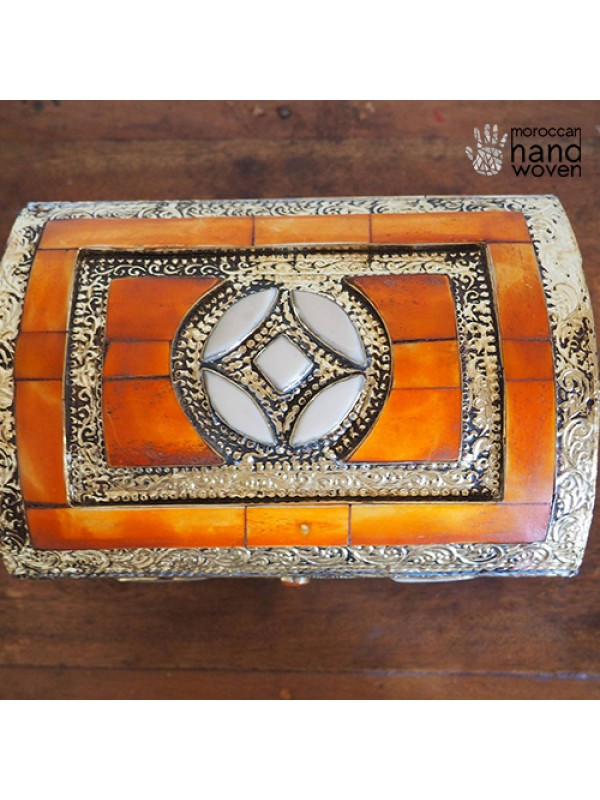 antique box /handmade chest/brass and silver box