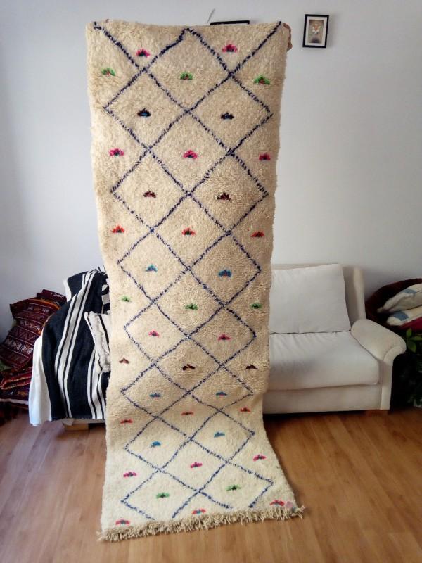 Azilal Runner Berber Rug 265x90 CM | 8.6x2.9 ft, Full wool rug ,Colored Berber Carpet