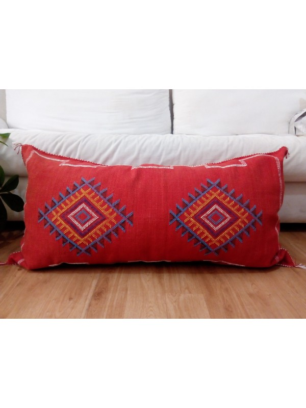 LUMBAR Sabra silk large Moroccan sabra CACTUS cushion - red pillow - white yellow blue  pattern - unstuffed