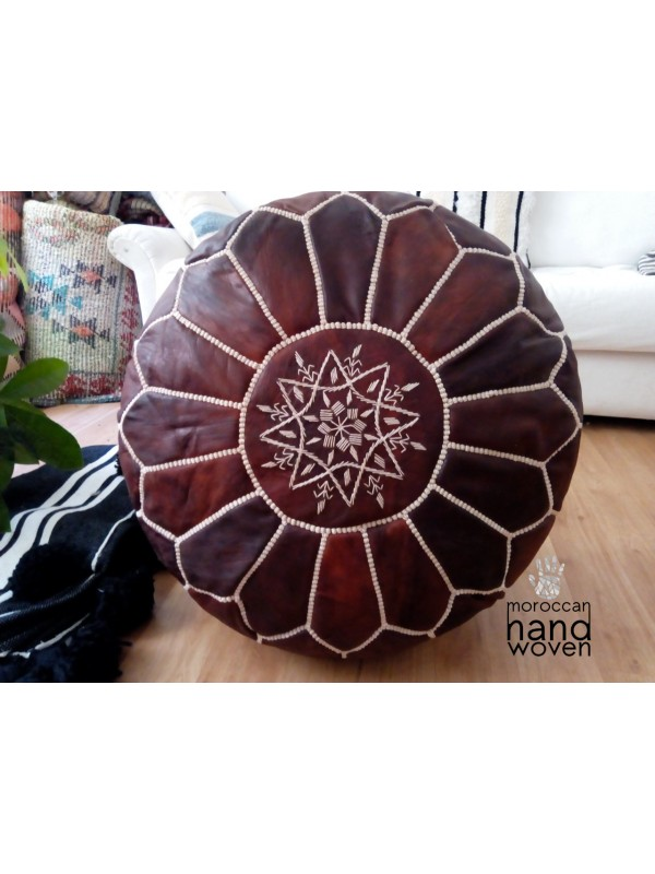Moroccan oiled dark  POUF white Stitching - Leather Unstuffed pouf