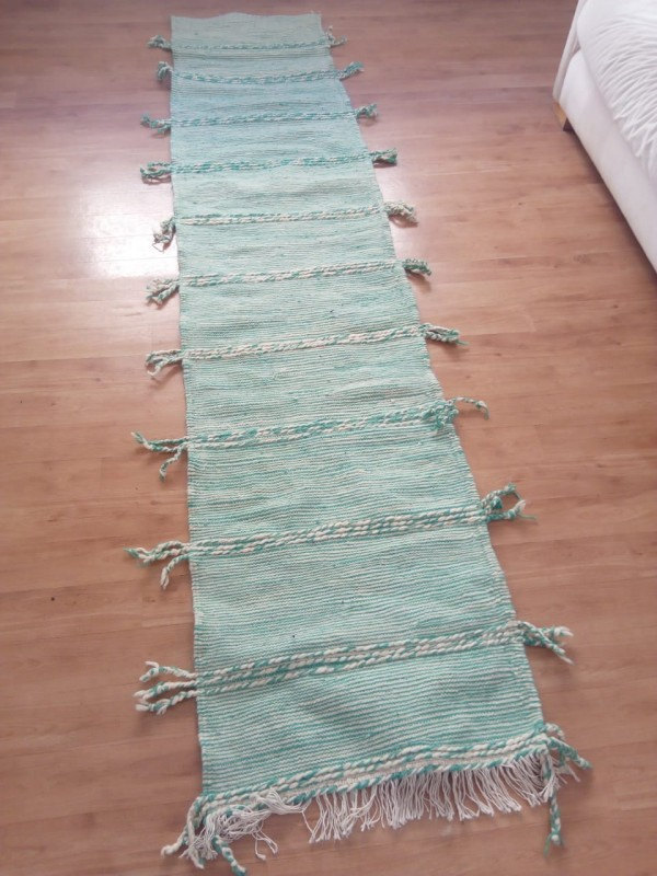 Green authentic runner zanafi Moroccan Rug berber style Hand Knotted