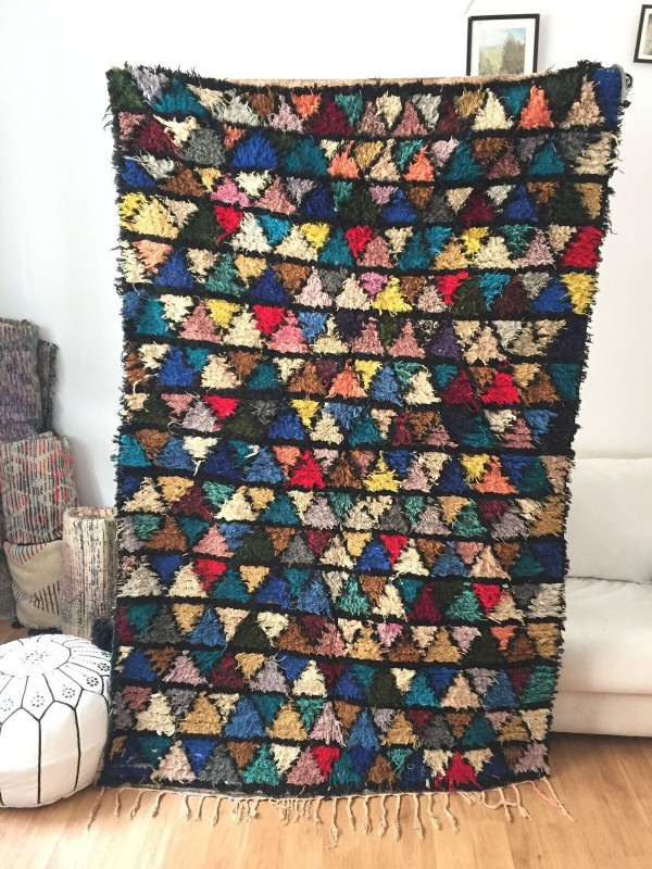 Vintage Moroccan Boucherouite (Boucheroute) Rug - Authentic rugs - Natural Wool - 210x125 cm
