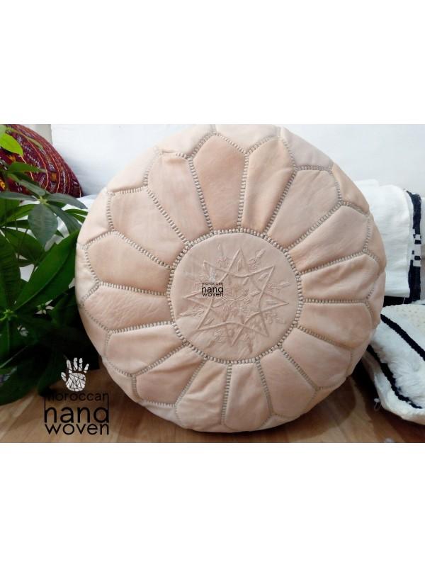Natural Beige  leather pouf - Marrakch handmade poof( (ottoman) unstuffed