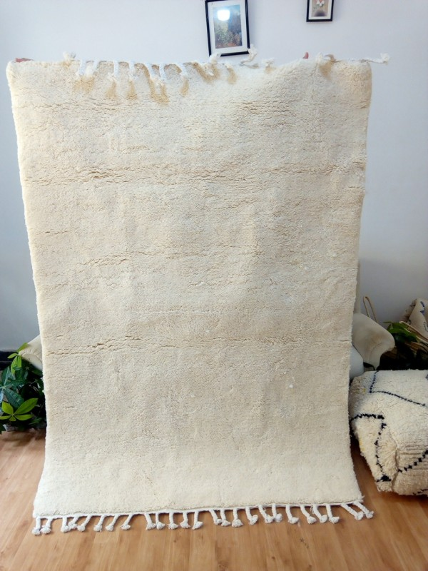 Moroccan Rug uni white color - Beni Ourain Style- Shag Pile - Full Wool