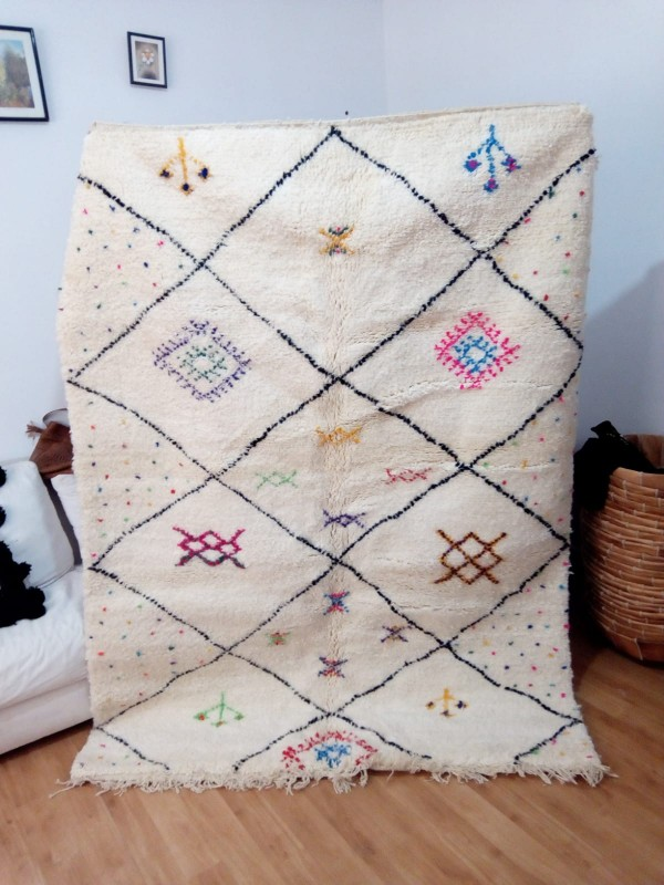 Azilal rug - handmade Moroccan Berber Carpet - Colored Rug- 230x170