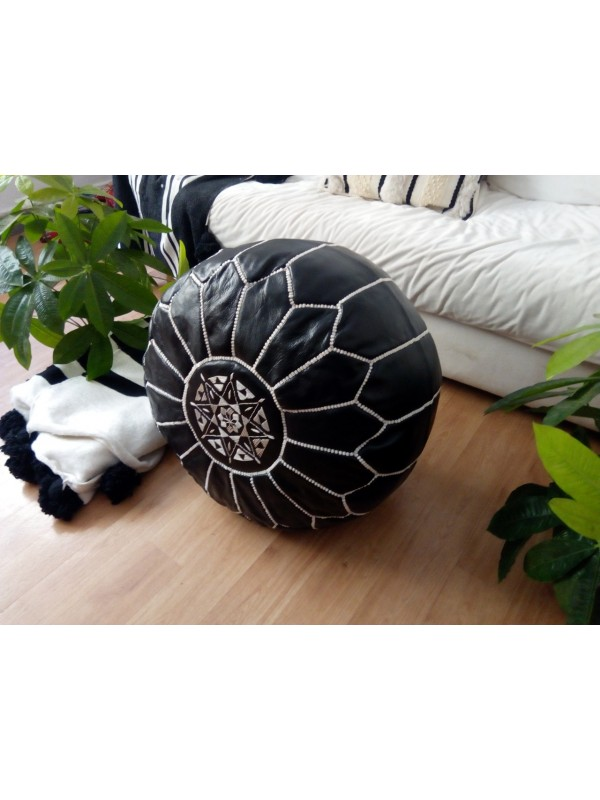 Moroccan black  POUF white Stitching - Leather Unstuffed pouf