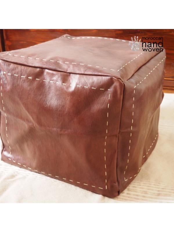 Square leather Dark Brown pouf