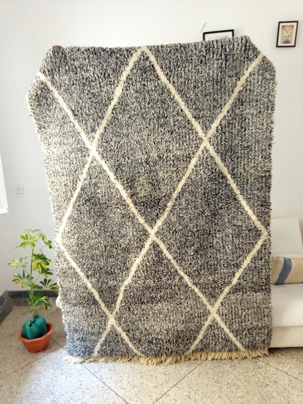 Moroccan Colorful Beni Ourain - Black White - Tribal Rug - Shag Pile - Full Wool - 216 X 145cm