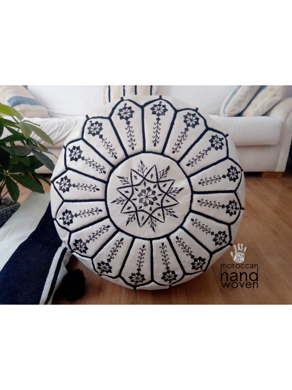 Moroccan white POUF black Stitching - embroidered design - Leather Unstuffed pouf