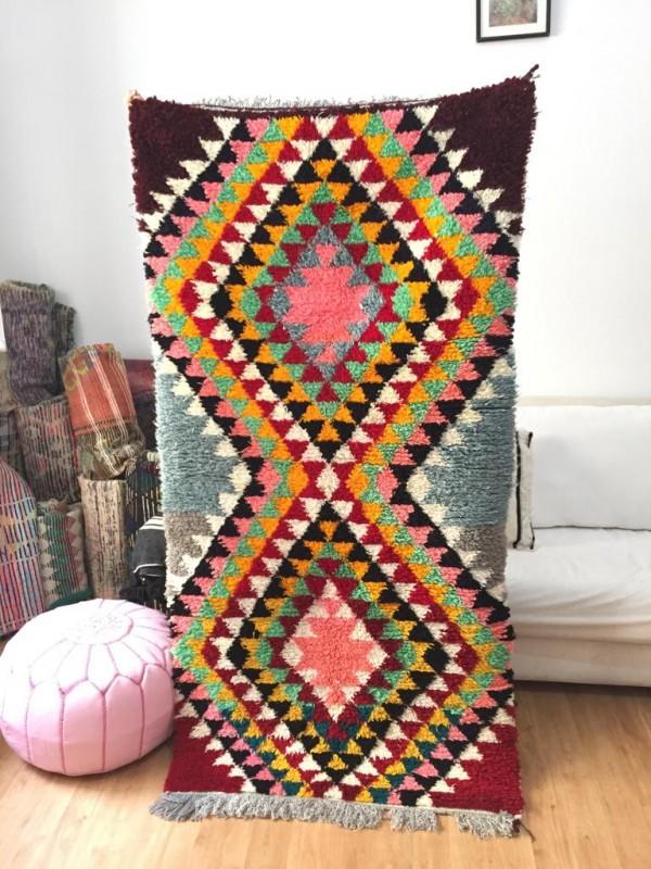 Vintage Moroccan Boucherouite (Boucheroute) Rug - Authentic rugs - Natural Wool - 195x95