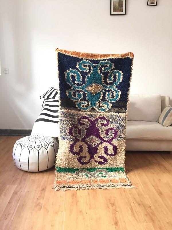 Vintage Moroccan Boucherouite (Boucheroute) Rug - Authentic rugs - Natural Wool -170x80