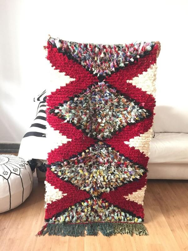 authentic  Moroccan Boucherouite carpet - carpet rugs - 130x70