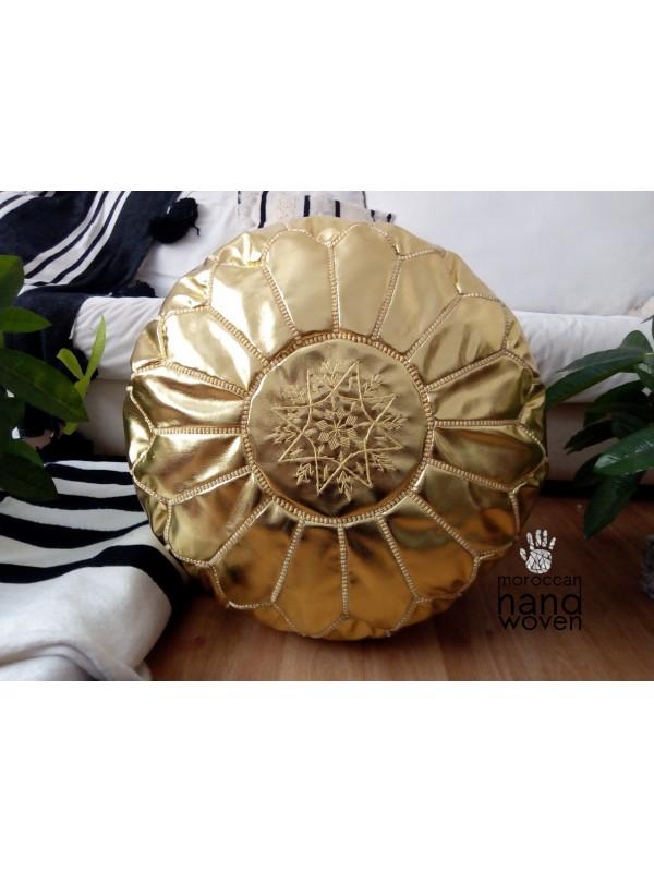 Moroccan gold handmade pouf( (ottoman) unstuffed