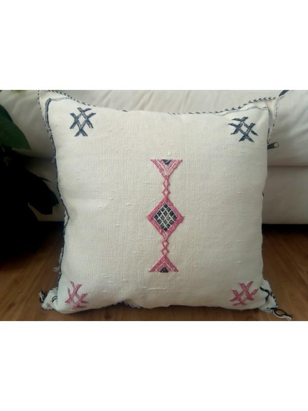 Cushion Cactus Sabra silk  - Moroccan sabra CACTUS Silk pillow - White Cactus silk Pillow unstuffed