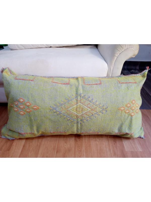 LUMBAR Sabra silk large Moroccan sabra CACTUS Silk pillow - Seaweed Color pillow unstuffed
