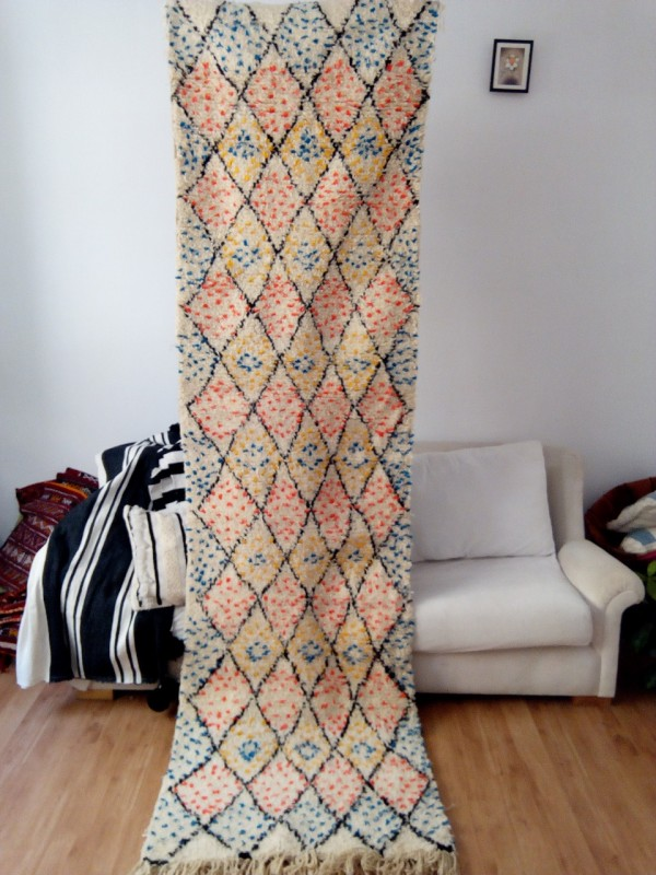 Azilal Runner Berber Rug 300x80 CM | 9.8x2.6 ft, Full wool - Colored Berber Carpet