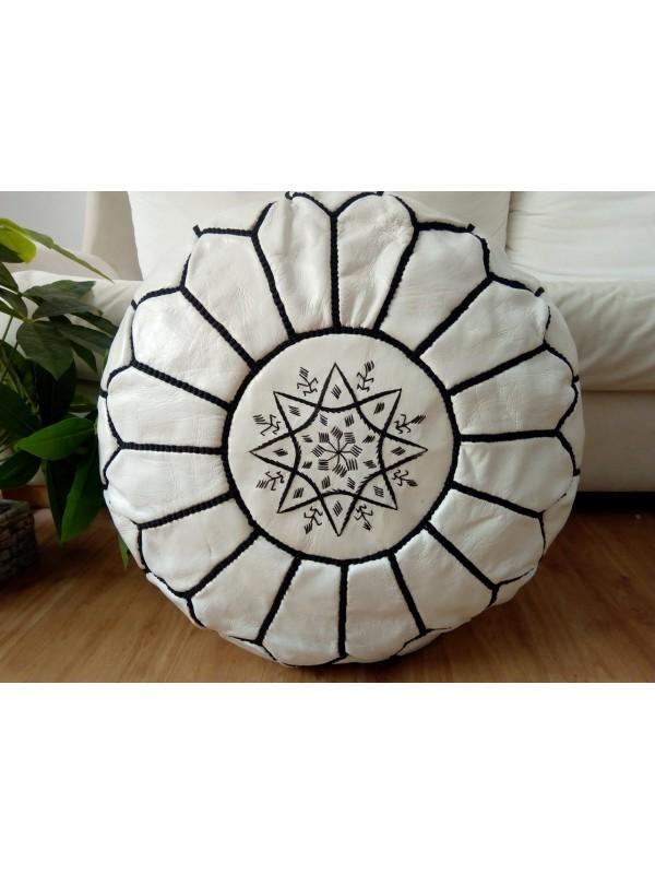 Moroccan Marrakch handmade White leather pouf( (ottoman) unstuffed