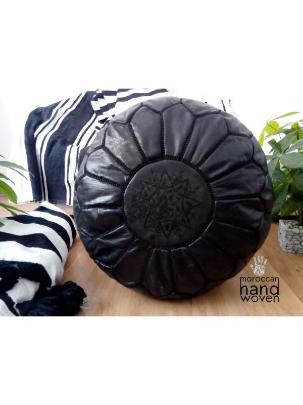 Black Moroccan Leather Pouf