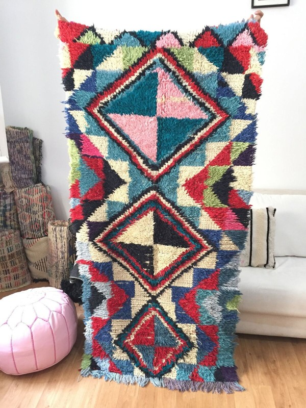 Vintage Moroccan Boucherouite (Boucheroute) Rug - Authentic rugs - Natural Wool - 195 X90 cm
