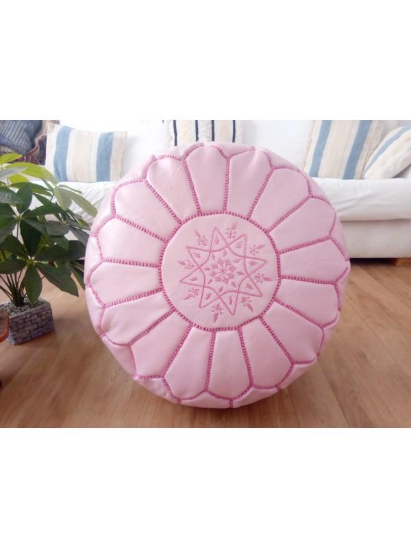 Moroccan pink  POUF white Stitching -  OttomanLeather - Unstuffed pouf