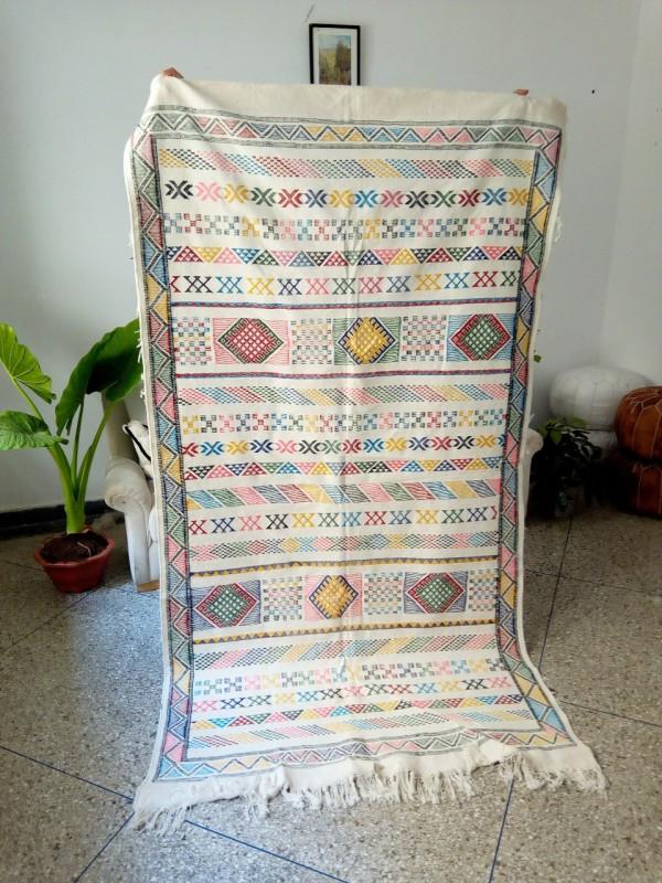 Sabra rug - Cactus Handmade Berber - Moroccan Cactus Silk - Authentic boho carpet - 250 X 135cm