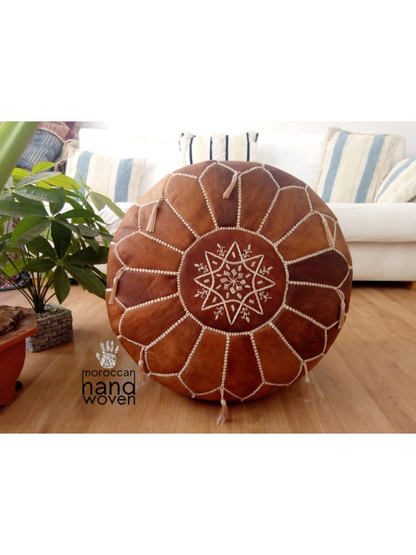 Moroccan oiled tan POUF - Ottoman with White Stitching