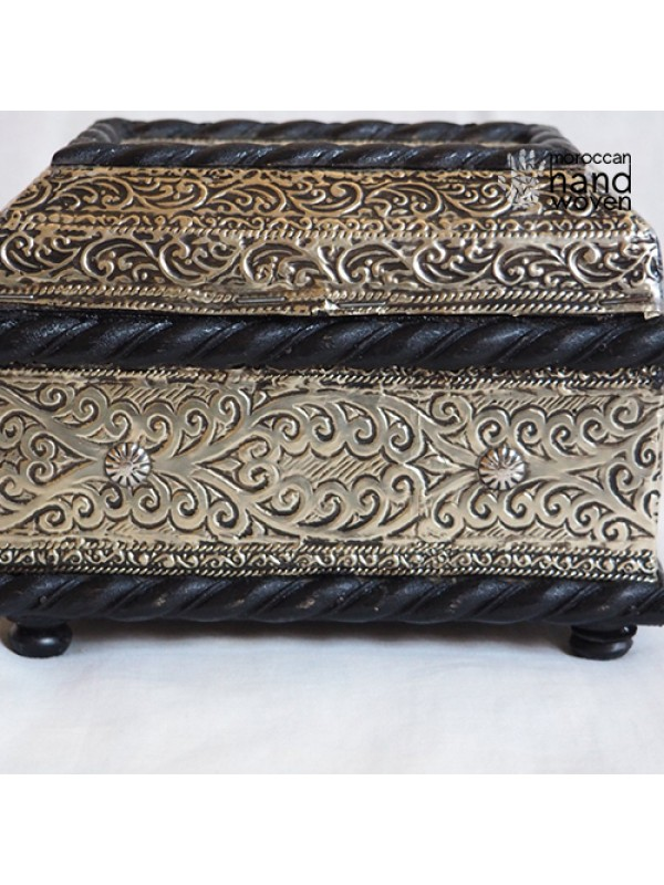 Moroccan Engraved embossed silver Box Chest